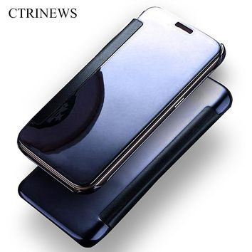 Clean View Mirror PU Leather PC Case For iPhone 7 7plus 6 6S 6 plus 5 5S Luxury Hard PC Flip Cover For iPhone 7 Phone Cases