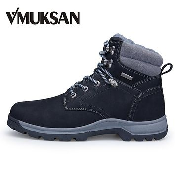 VMUKSAN Brand New Men Boots Plus Size 40-46 Warm Furry Winter Boots Men Shoes 2017 Fashion Working Snow Ankle Boots For Man