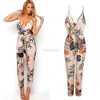 Women Sexy V Neck Backless Flower Print Long Jumpsuit Playsuit Party Dress  W_C = 5709581697