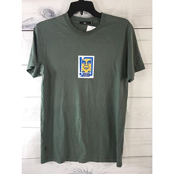Obey Men's Icon Face Green Tshirt, Size S