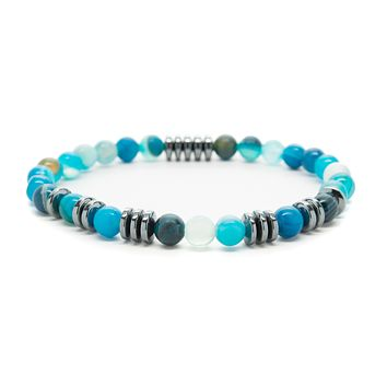Blue Agate Gemstones Beaded Bracelet for Men and Women