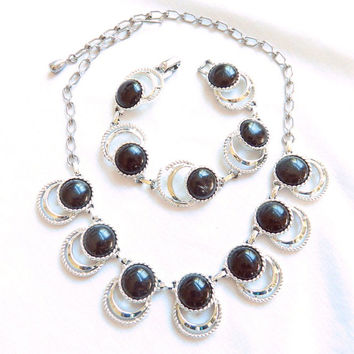 Vintage Open Cut Silver Tone with Black Plastic Cabochons BIB Necklace and Bracelet Demi Parure Set signed SAC for Sarah Coventry