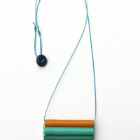 pendant necklace, muticolor & minimal, polymer clay jewelry, cotton wax cord