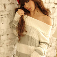 Latest Off Shoulder Lapel Stripe Gray Sweater