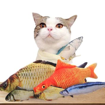 New 30cm Cat Favor Cute Simulation Fish Cat Toys Catnip Catmint Stuffed Fish Shape Scratching Post Soft Short Plush Pet Product