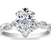 Engagement Ring - Pear Shape Diamond Petite twisted pave band Engagement Ring in 14K White Gold - ES873PSWG