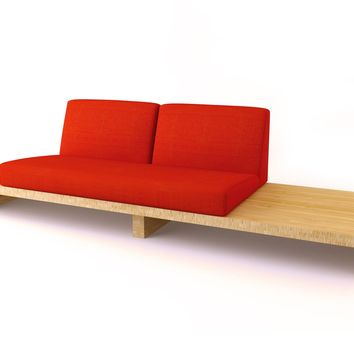 Modern Bamboo Sofa, Bamboo Float 2-Seater Two Large w/ End Table | Viesso