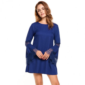 Women Lace Flare Sleeve Casual Loose Fit A-Line Tunic Dress