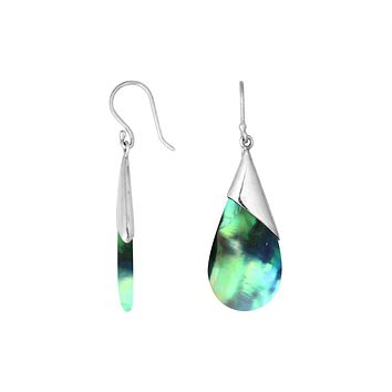 AE-6186-AB Sterling Silver Pear Shape Earring With Abalone Shell