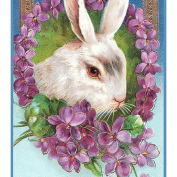 Vintage Easter Bunny with Violet Flowers Counted Cross Stitch or Counted Needlepoint Pattern