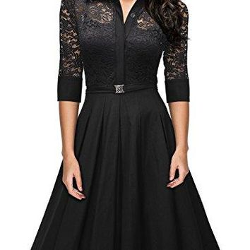 MissMay Women's Vintage 1950s Style 3/4 Sleeve Black Lace Flare A-Line Dress
