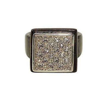 Gunmetal Finish Large Square Pave Set Cubic Zirconia Statement Fashion Ring