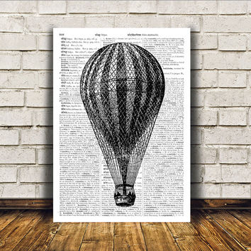 Balloon poster Antique art Steampunk print Modern decor RTA166