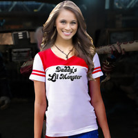 Hot Selling Daddy's Lil Monster Short Sleeve T-shirt Little Harley Quinn Inspired Cosplay Shirt Costume