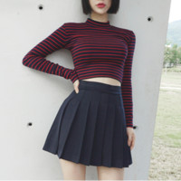 Free Shipping Striped Neck Red Top T-shirt