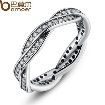 BAMOER 8 STYLE BRAIDED PAVE ,LEAVES My Princess Queen Crown SILVER RING Twist Of Fate Stackable Ring ANNIVERSARY SALE