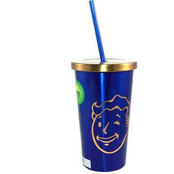 16oz Fallout Vault Boy Blue and Gold Tumbler Travel Cup GIFT with Screw-On Lid and Straw