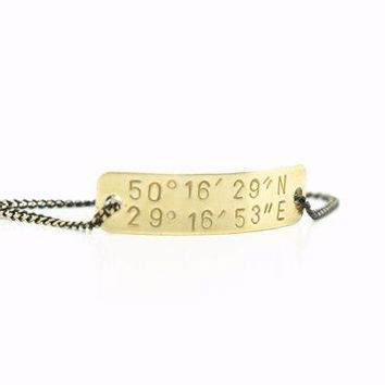 Personalized Hand Stamped Custom  Latitude And Longitude Coordinates  Bracelet     Brass Tag Black Brass Chain    Long Distance Relationship