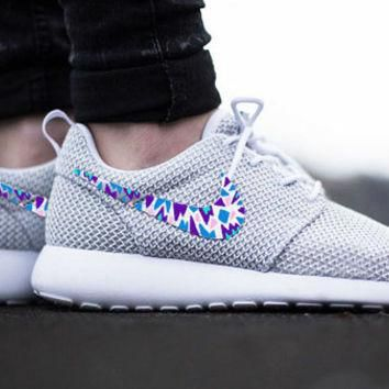 Womens Custom Nike Roshe Run sneakers, triangles, purple, pink, teal, blue trendy desi