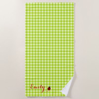 Ladybug on Lime Green Gingham Add Your Name Beach Towel