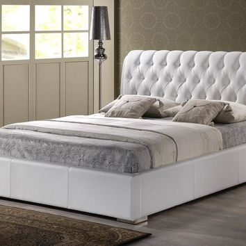 Baxton Studio Bianca White Modern Bed with Tufted Headboard (King Size) Set of