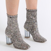 Chloe Perspex Heeled Ankle Boots in Silver Glitter