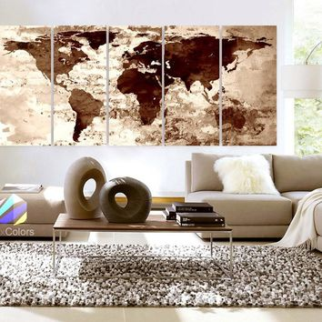 "Xlarge 30""x 70"" 5 Panels 30x14 Ea Art Canvas Print Watercolor Texture Map Old brick Cream Colored Brown Wall decor Home interior (framed 1.5"" depth)"