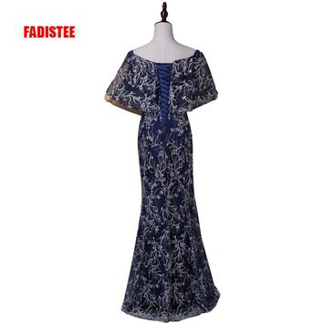 FADISTEE New Bling sequin party prom dress Vestido de Festa boat neck floor length lace-up back long style dress