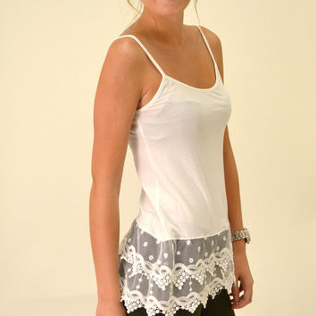 LACE CAMI EXTENDER- WHITE
