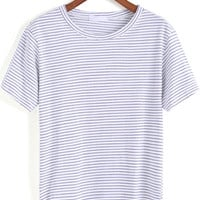 Blue White Short Sleeve Striped Loose T-Shirt - Sheinside.com