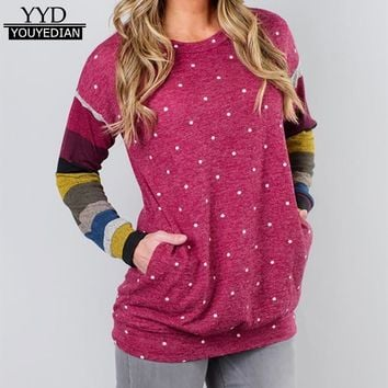 T Shirt Women Clothes 2017 Polka Dot Tshirt Long Sleeve Tops Womens Patchwork T-Shirts Casual Tee Shirt Femme Poleras Mujer#1120