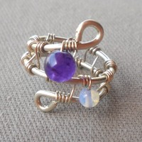 Amethyst,Moonstone Wrapped Silver Wire Ring