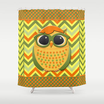 Yellow and Green Owl with Glasses on Orange and Yellow Chevron Shower Curtain by tsuttles