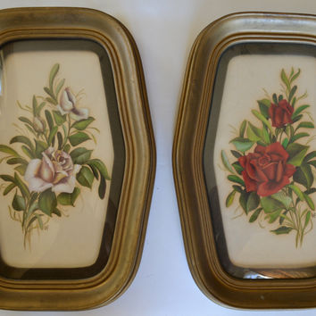 Pair Antique  French Victorian Signed Roses Paintings Beautifully Framed in Convex Bubble Glass w/ Velvet Mat - French Cottage Decor