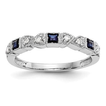 14k White Gold Diamond & Blue Sapphire Ring Anniversary