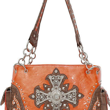 Cross Leather Designer Fashion Bling Western Stitch Rhinestone Stud Flower Trendy Purse Handbag Orange Brown