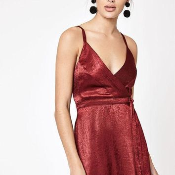 CREYON Kendall and Kylie Satin Wrap Dress