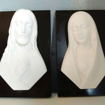 Vintage, Wall Art,  Religious, The Sacred Heart of Jesus, The Immaculate Heart of Mary, Chalkware, Marble, RhymeswithDaughter