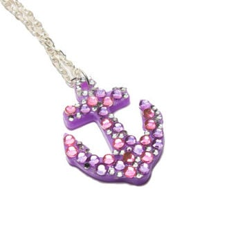 Purple Anchor dipped in Rhinestones necklace