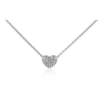Silver Pave Heart Russian Lab Diamond Necklace