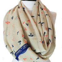 birds lace scarf,infinity scarf, scarf, scarves, long scarf, loop scarf, gift