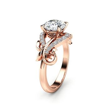 Diamond Leaf Engagement Ring 14K Rose Gold Leaf Ring Conflict Free Diamond