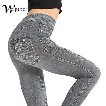 Weljuber New Autumn Women Print Leggings Mock Pocket And Hole Jeans Slim Leggings Woman Jeggings Ladies Denim Skinny Trousers