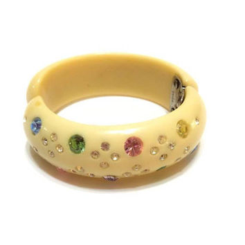 Weiss Celluloid Bracelet, Multi Colored Rhinestones, Wide Clamper Bracelet,  Stacking Bracelet, 1940s, Retro Jewelry, Vintage Jewelry