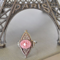 Pink Victorian Locket Adjustable Ring,  Pink Glass Druzy, Ornate Silver Toned Ring, Boho Ring