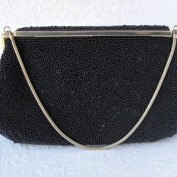 Vintage MICHEL SWISS 16 Rue de la Paix Paris France Jet Black Micro Beaded Purse Gold Frame Formal Glass Bead Handbag French Evening Clutch