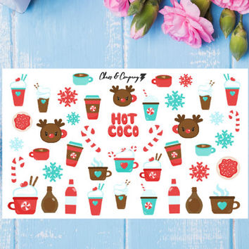 Peppermint Hot CoCo Planner Stickers, Winter, Christmas, Happy Planner, Erin Condren, Filofax, Cute Kawaii Stickers