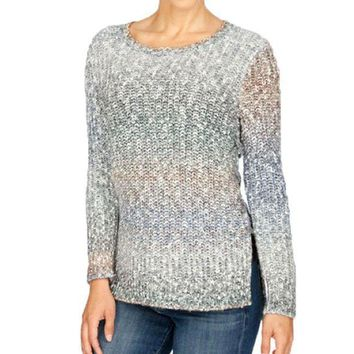 ICIKAB3 Lucky Brand Ombre Lace Up Pullover Sweater Multi