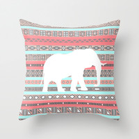 Elephant Aztec Pattern Pastel Peach Aqua Print Throw Pillow by RexLambo