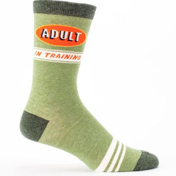 Adult In Training Men's Socks in Retro Green Ringer